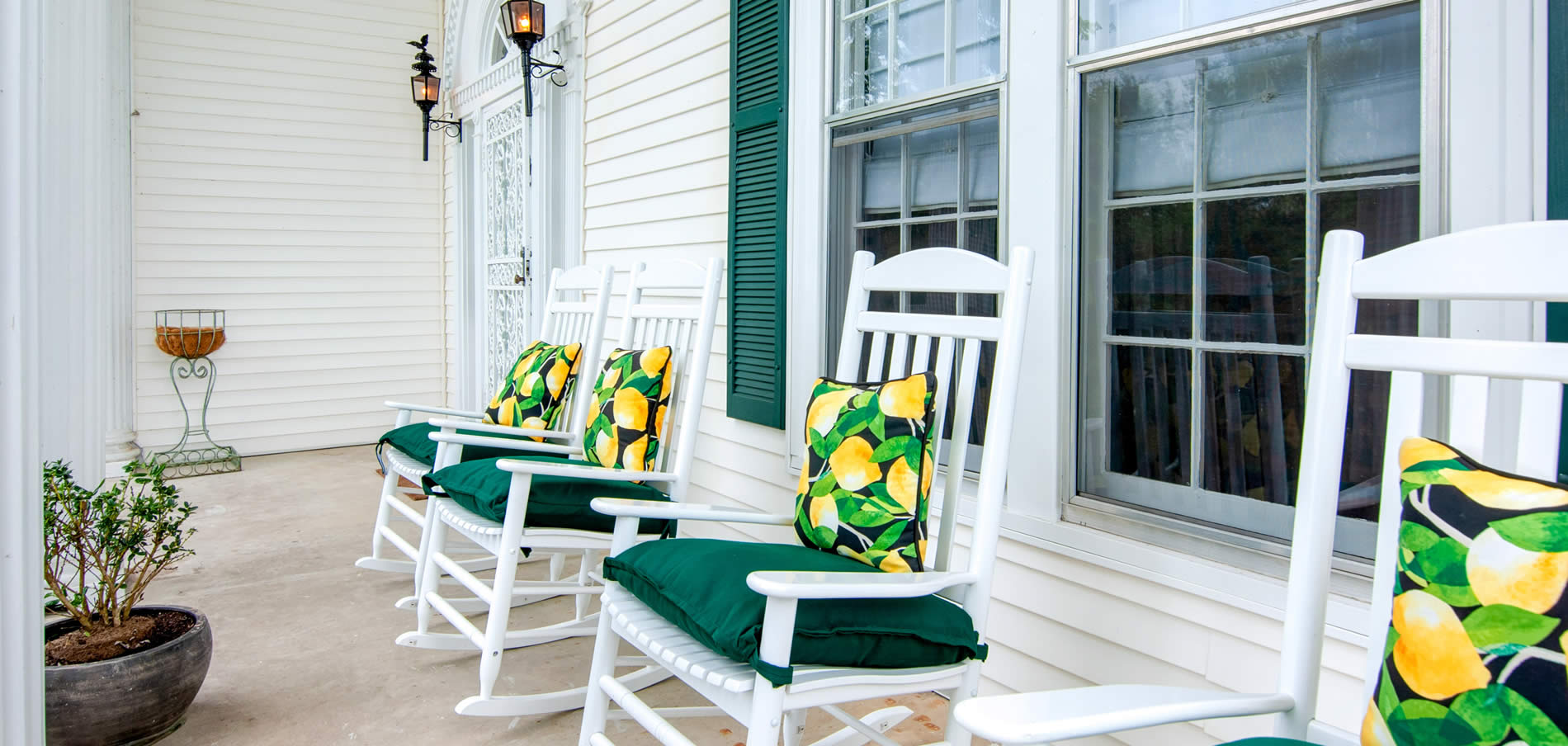 tolley house porch with rocking chairs